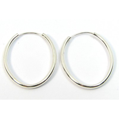 1 Pair Silver over Copper Oval Ear Wires