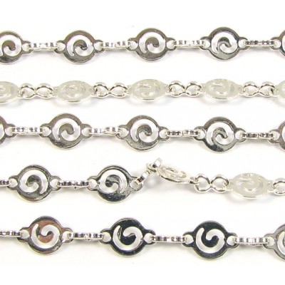 1cm Silver Plated Fancy Curl Detail Chain