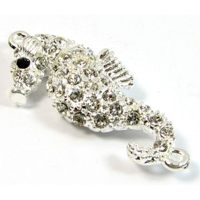 1 Silver Plated Crystal Set Magnetic Seahorse Clasp