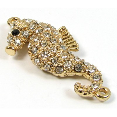 1 Gold Plated Crystal Set Magnetic Seahorse Clasp