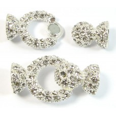 1 Large Silver Plated Crystal Set Magnetic Clasp