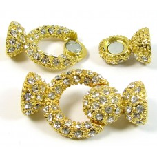1 Large Gold Plated Crystal Set Magnetic Clasp