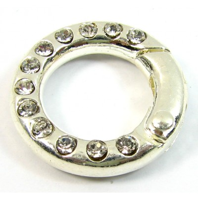 1 Silver Plated Crystal Set Ring Clasp