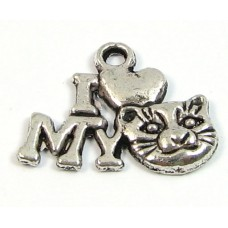 1 Silver Plated Pewter I Love (Heart) My Cat Charm