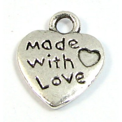 1 Silver Plated Made with Love (Heart) Charm