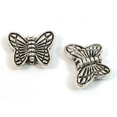 1 Silver Plated Butterfly Bead