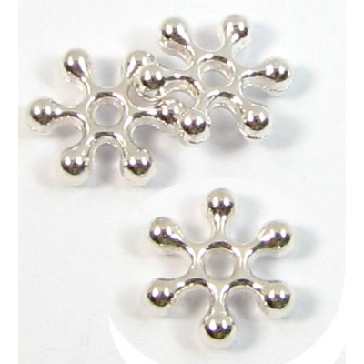 20 Silver Plated Snowflake Spacer Beads