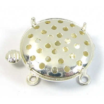 1 Silver Plated 2-Part Sieve 2-Strand Box Clasp for Beading