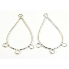2 Silver Plated Chandelier Earring Fittings