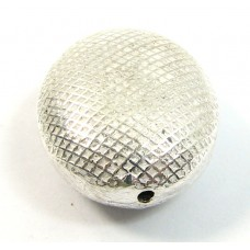 1 Silver Plated Oval Embossed Bead