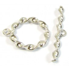 1 Silver Plated Twist Toggle Clasp