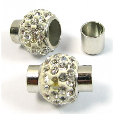 1 Silver Plated Crystal Magnetic Clasp for Round Cord