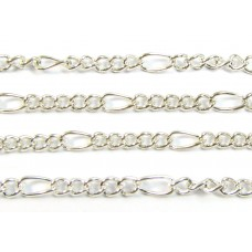 1 Metre Silver Plated Figaro Chain