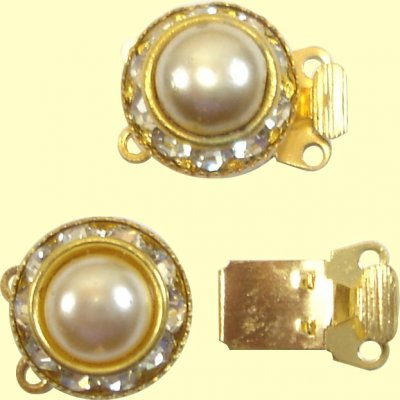 1 Gold Plated 2 Strand Diamante Bayonet Clasp with Pearl