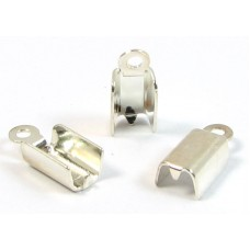 6 Silver Plated Medium Fold Over Crimp Cord Ends