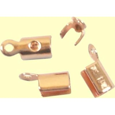 10 Copper Plated Fold Over Crimp Cord Ends