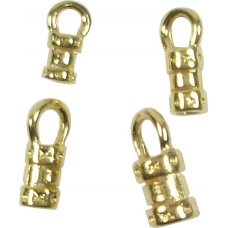 10 Gold Plated Looped Crimp End Caps 3mm