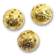 10 Gold Plated Pierced 8mm Round Beads