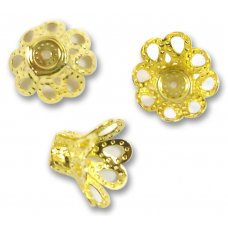 10 Gold Plated 12mm Filigree Beadcaps