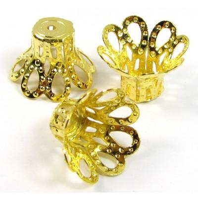 10 Gold Plated 12mm Filigree Beadcaps
