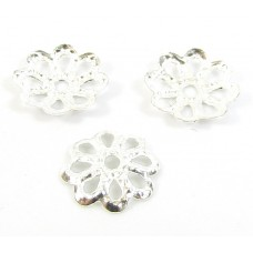 100 Silver Plated Filigree Petal 7mm Bead Caps