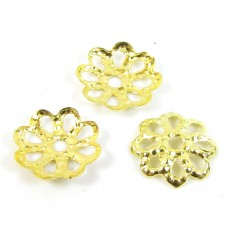 100 Gold Plated Filigree Petal 7mm Bead Caps