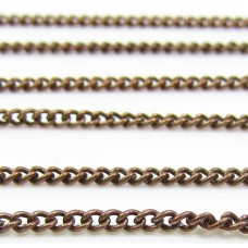 1 Centimetre Antiqued Copper Plated 1.5mm Curb Trace Chain