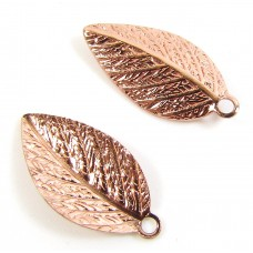 2 Copper Plated Leaf Charms