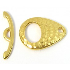 1 Hammered Gold Plated Toggle Clasp