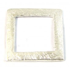 1 Brushed Plated Silver Square Donut/Link