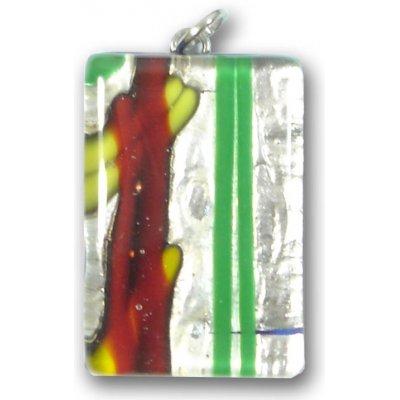 Murano Glass Medium Oblong Pendant - Silver Foiled Multi Coloured