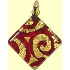 Murano Glass Diamond Pendant Diamond Ruby