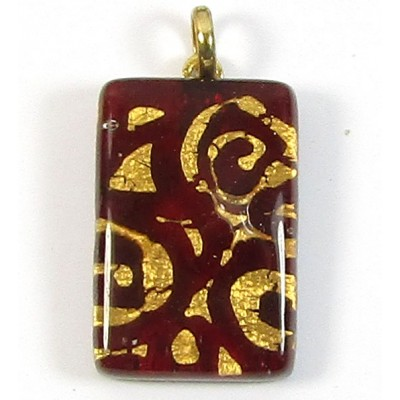 Murano Glass Oblong Pendant Medium Oblong Ruby
