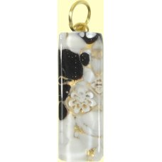Murano Glass Thin Oblong Pendant - Gold Foiled Black