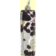 Murano Glass Thin Oblong Pendant - Silver Foiled Black