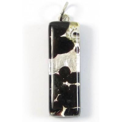 Murano Glass Thin Oblong Pendant - Silver Foiled Black