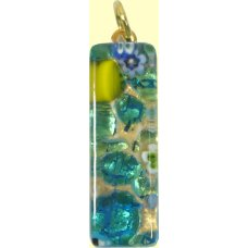 Murano Glass Thin Oblong Pendant - Gold Foiled Green