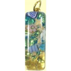 Murano Glass Thin Oblong Pendant - Gold Foiled Green