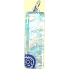 Murano Glass Thin Oblong Pendant - Silver Foiled Blue