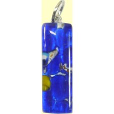 Murano Glass Thin Oblong Pendant - Silver Foiled Blue