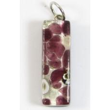 Murano Glass Thin Oblong Pendant - Silver Foiled Purple