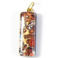 Murano Glass Thin Oblong Pendant - Gold Foiled Topaz
