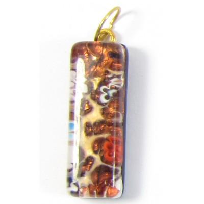 Murano Glass Thin Oblong Pendant - Gold Foiled Topaz