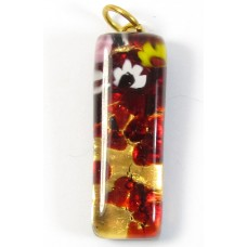 Murano Glass Thin Oblong Pendant - Gold Foiled Red