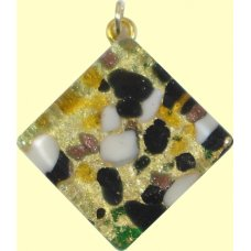 Murano Glass Medium Diamond Pendant - Gold Foiled White