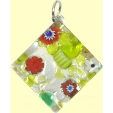 Murano Glass Medium Diamond Pendant - Silver Foiled Green