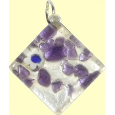 Murano Glass Medium Diamond Pendant - Silver Foiled Purple