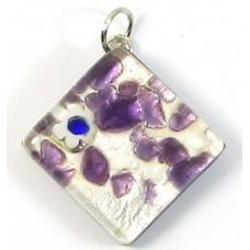 Murano Glass Medium Diamond Pendant - Silver Foiled Purple