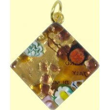 Murano Glass Medium Diamond Pendant - Gold Foiled Multi Coloured