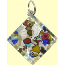 Murano Glass Medium Diamond Pendant - Silver Foiled Multi Coloured